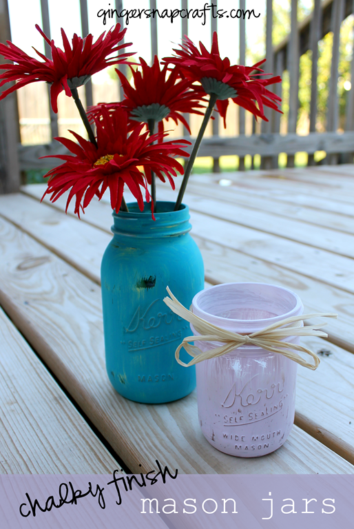 chalky finish mason jars at GingerSnapCrafts.com