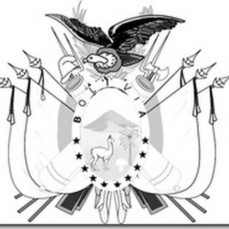 Escudo y bandera con escudo de Bolivia para colorear