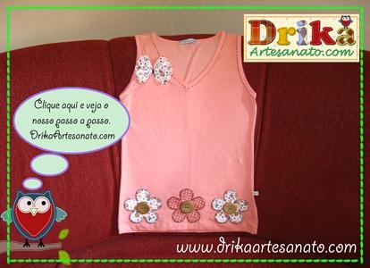 blusinha com flores patch aplique