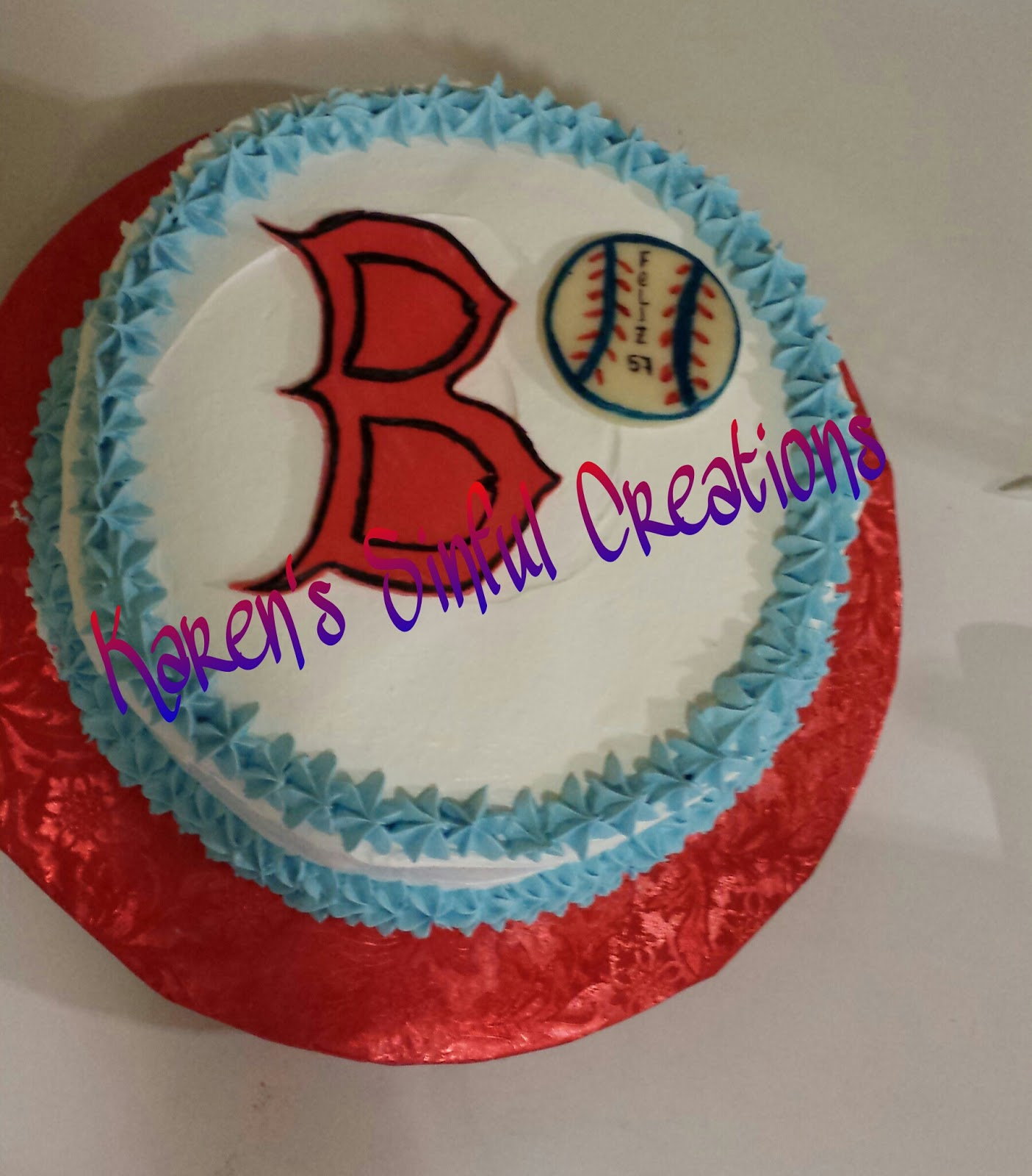 Karens Sinful Creations Red Sox Cake
