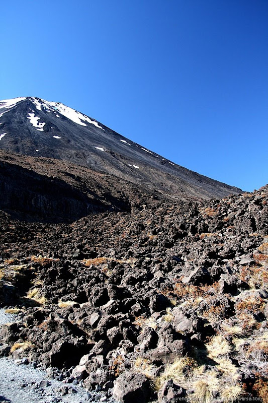 Lava flows with Mount Ngauruhoe in the background
