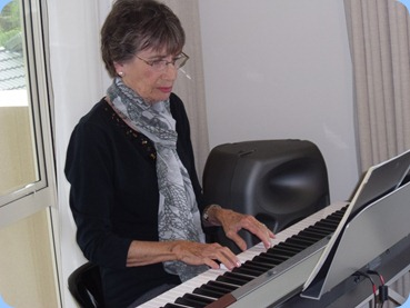 Colleen Kerr played some lovely solos on the Korg SP250 digital piano