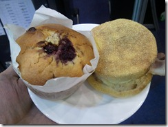 Fruit muffin and savoury muffin for morning tea