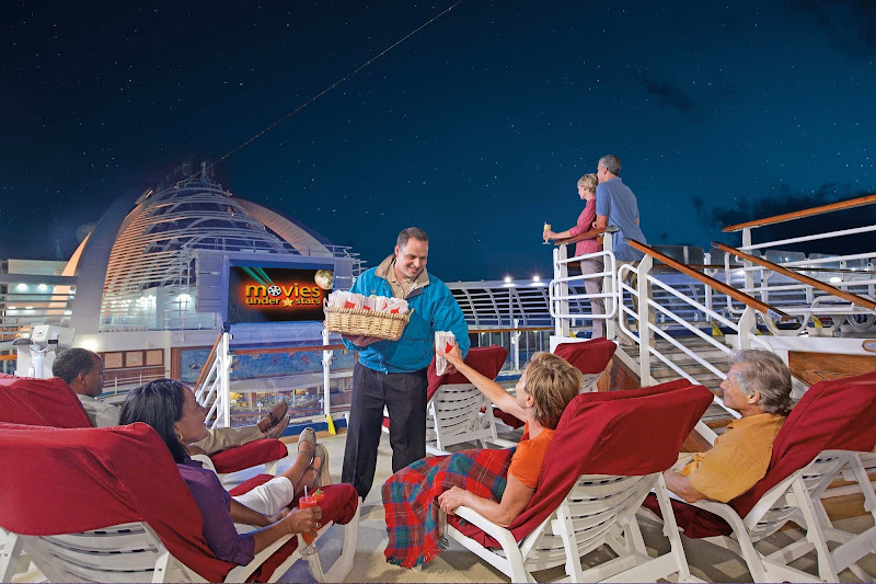 Watch the latest films, family fare and sporting events on a 300-square-foot digital screen while relaxing at the pool under a backdrop of sea and stars on your Princess cruise.