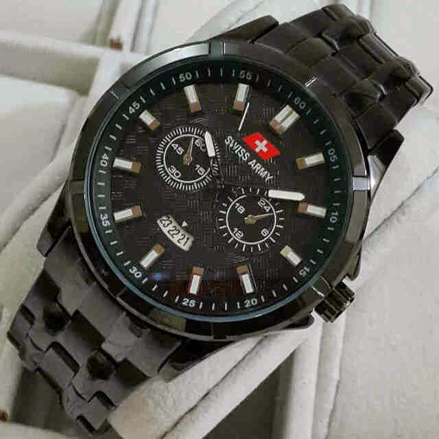 Jual jam tangan  Swiss Army tgl full hitam metalik KW