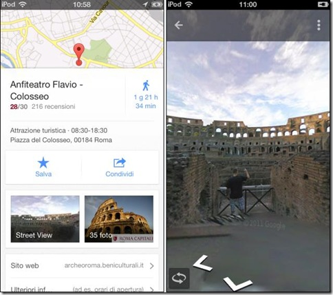 Google Maps per iPhone modalità Street View