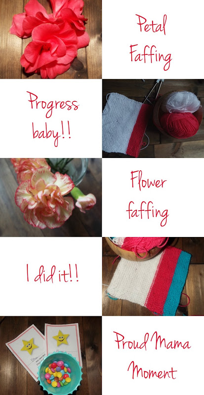 Petals, knitting and flowers