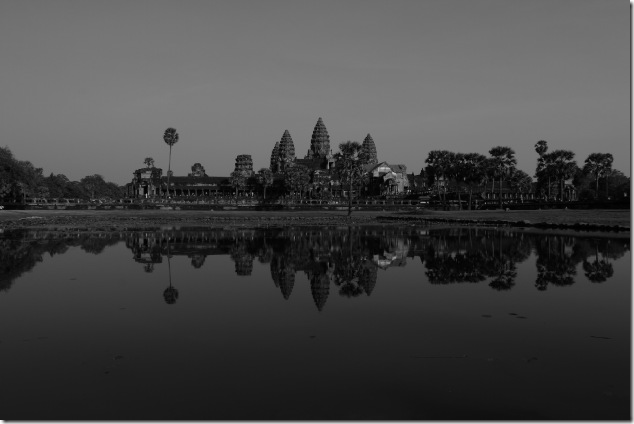 Angkor Wat and reflections in monochrome