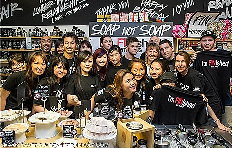 "LUSH SHARK SAVERS SOAP NOT SOUP SINGAPORE ""I'M FINISHED"" WITH FINS Ambassadors Hossan Leong, Cheryl Wee, Jean Danker, Glenn Ong, Yasminne Cheng, Michael Ma, Kimberly Chia take a pledge save marine eco-system Shop online lush.com.sg"