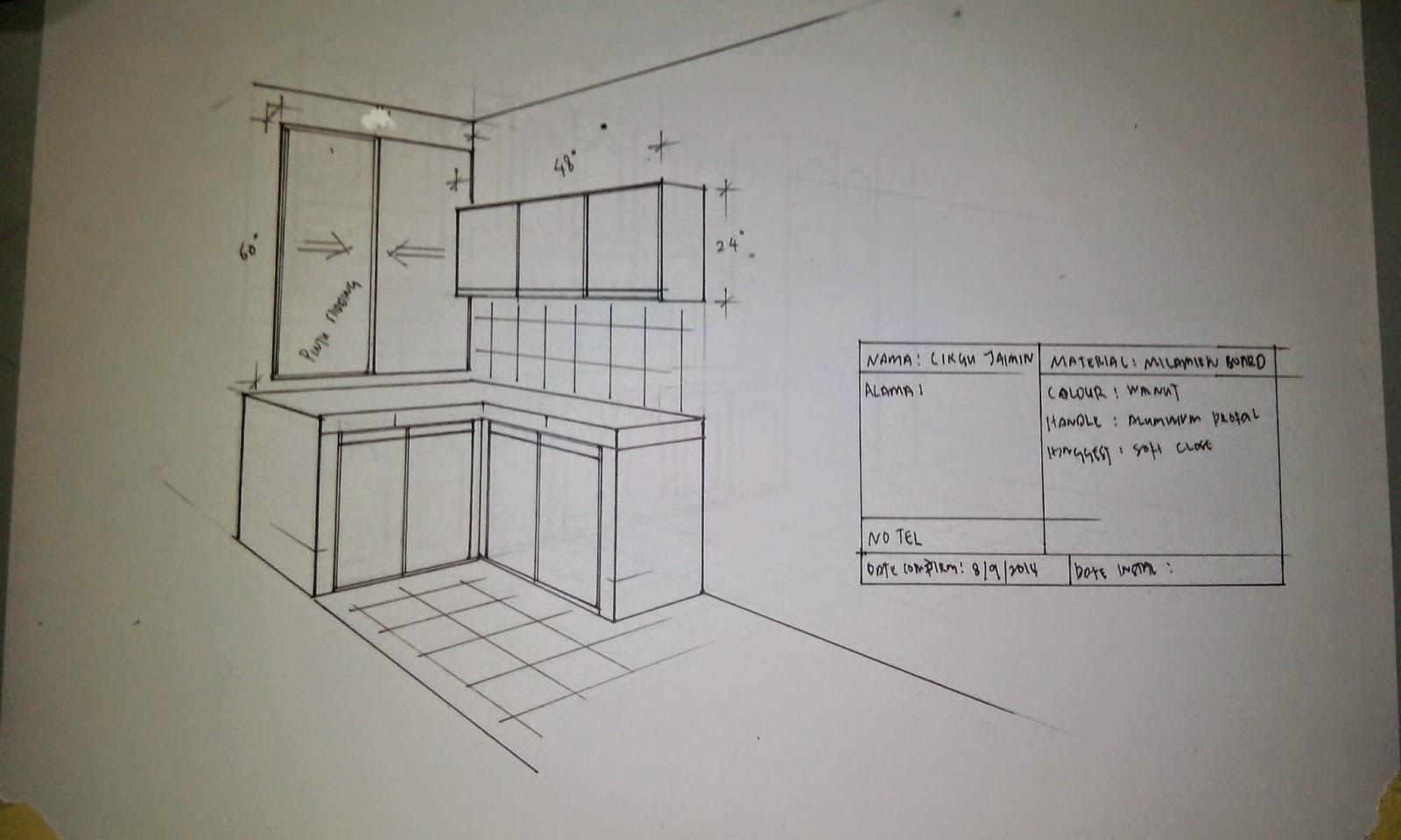 Yg Ni Lakaran Kabinet Dapur Umah Beliau Material Di Gunakan Spt Milamine Board Serta Kekemasan Edging Aluminium Manakala Handle K Kami Pakai