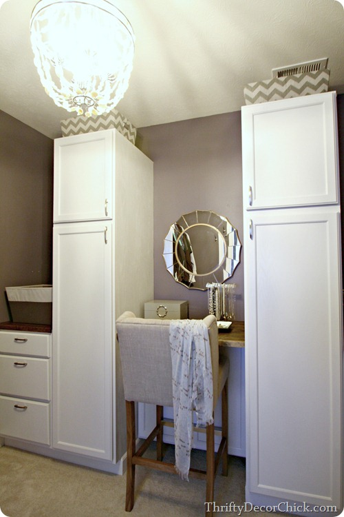 closet storage with cabinets