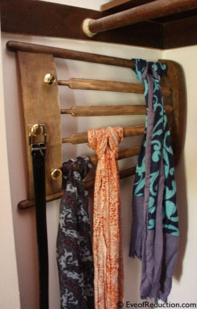 DIY scarf rack from chair