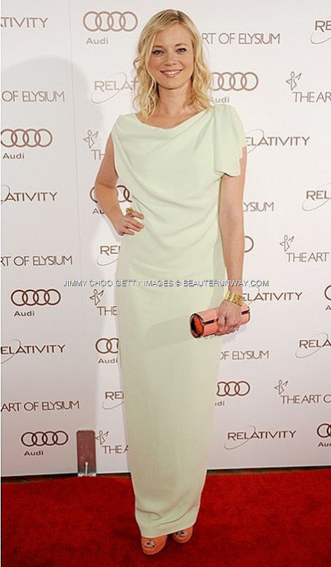 JIMMY CHOO Crown leather pump shoes Cosma clutch for AMY SMART AT ART OF ELYSIUM 5TH ANNUAL HEAVEN GALA IN LOS ANGELES