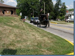 4143 Indiana - Ligonier, IN - Lincoln Highway (Lincolnway S)(State Route 5) - Amish buggy going past Ligonier Visitor Center & Heritage Station Museum