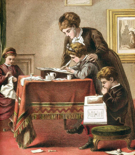 Painting Of A Catholic Family In The Kitchen