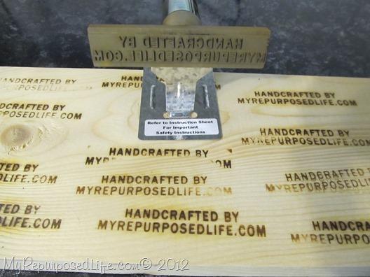 branding iron on wood