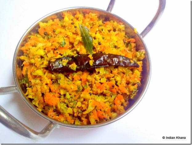 Carrot and Broccoli Poriyal Thoran Stir Fry Recipe
