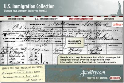 Ancestry.com.营销他们的美国美国移民收集