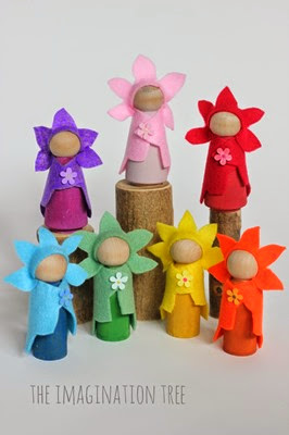 Flower-fairy-wooden-dolls-tutorial from Imagination Tree