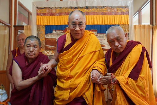 His Holiness the Dalai Lama with Lama Zopa Rinpoche and Ani Ngawang Samten, Sera Monastery, India, January 2, 2014. Photo courtesy OHHDL.<br /><br /><span class=legal style=word-wrap:break-word;>file: <a href=http://lh5.ggpht.com/-UbuHXrKUqdo/UyuA48WG4MI/AAAAAAAA1v0/KkB1Z3ceBsY/DSC07751.JPG target=_blank>DSC07751.JPG</a></span>
