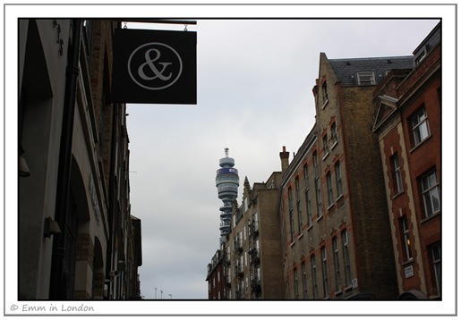 The BT Tower from Rathbone Street