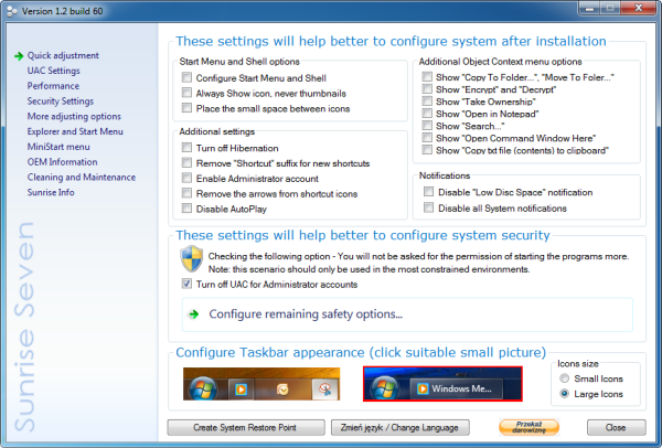 Sunrise Seven–Windows 7 System Tweaker - Instant Fundas
