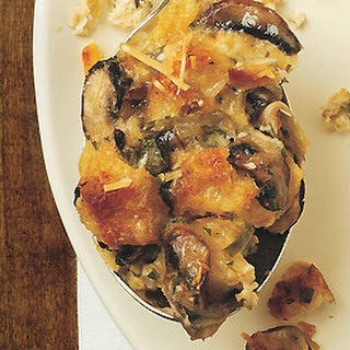 Savory Bread Pudding with Mushrooms and Parmesan Cheese.