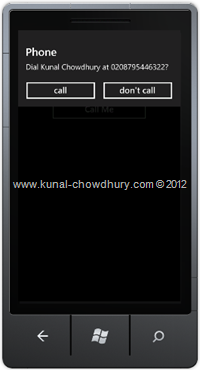 Screenshot 1: How to Call a Number in WP7 using the PhoneCallTask?