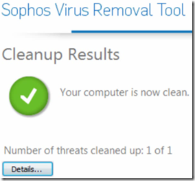 Sophos Virus Removal Tool Your computer is now clean