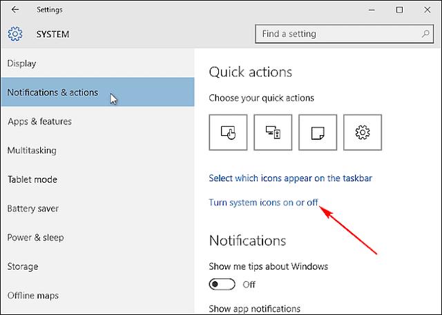 Ẩn các biểu tượng trong hệ thống System Tray của Windows 10