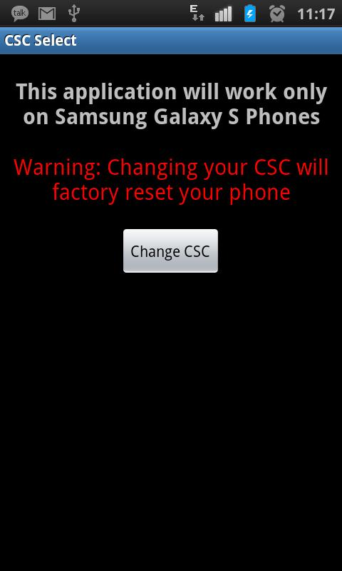 Samsung Galaxy S / S2 / S3 CSC - screenshot