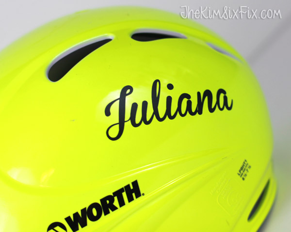 Name on baseball helmet