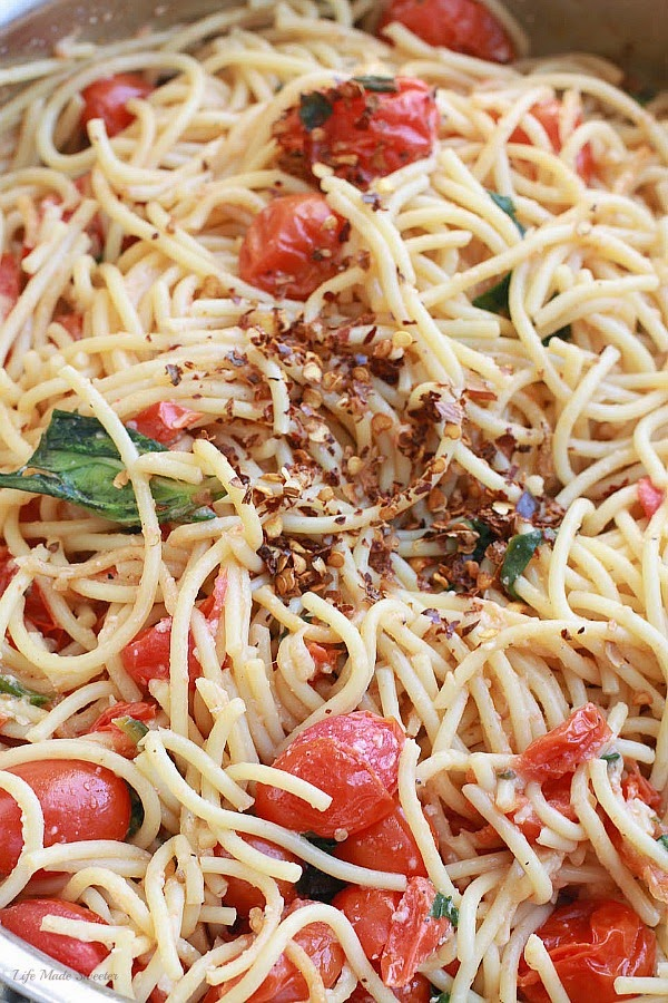 Cherry Tomato, Basil, Spinach and Parmesan Pasta via --- @LifeMadeSweeter.jpg