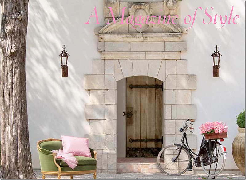 Breathtaking French Chateau with stucco front bicycle and vintage chair