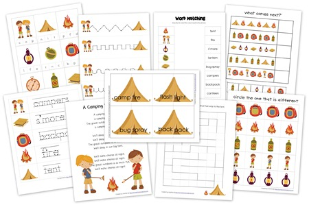 The Camping Preschool Pack Includes Some Of Parts That You All Love Word And Letter Tracer Sheets Early Writing Strips A Pattern Page