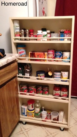 slide out skinny pantry shelf