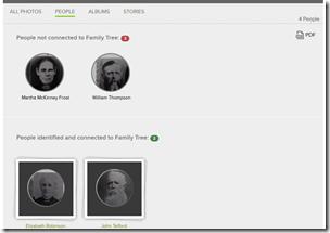 此页面显示标记为一张照片的人,以及它们是否与家庭树相关联
