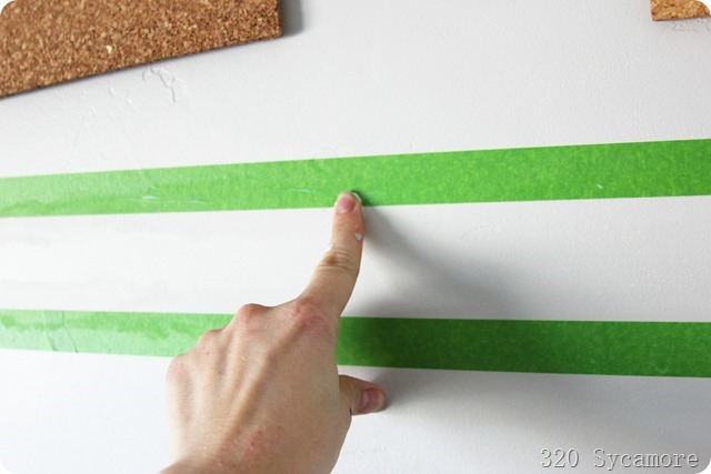 for perfect stripes, seal tape with mod podge