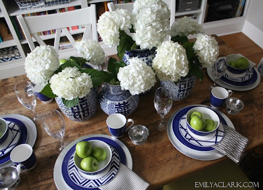 blue and white tablescape & My Blue and White Table - Emily A. Clark