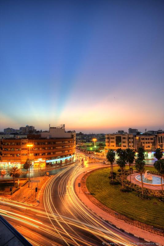 sunset dubai roundabout