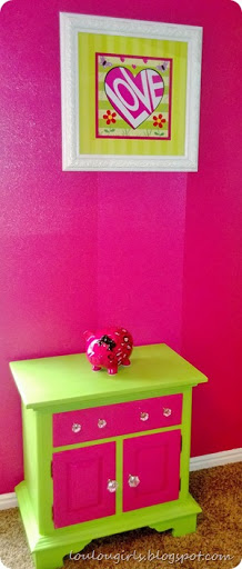 ... Drawers Was Something That We Had Inherited From A Friend And A Little  Paint Made It A New Piece.We Painted 3 Walls The Lime Green And One The Hot  Pink!