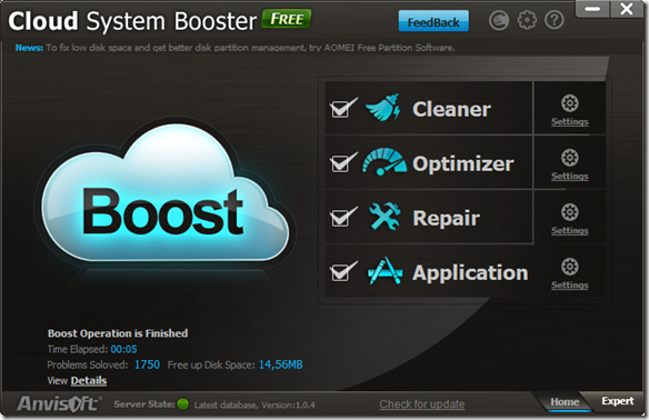 Cloud System booster modalità Home