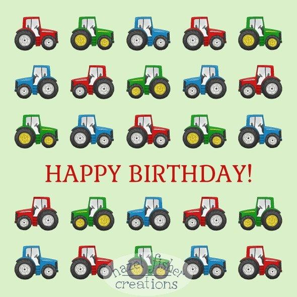 01 October 2014 tractors birthday card phoenix trading hazel fisher creations