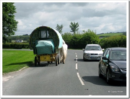 Gypsy traveller on his way to Appleby Horse Fair.