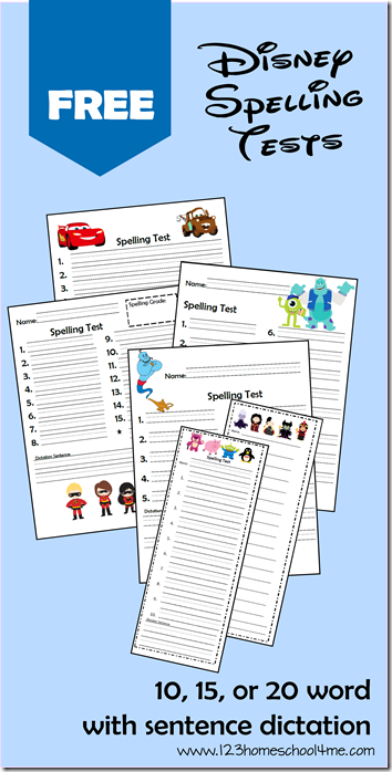 FREE printable Disney Spelling Tests for Kindergarten - 6th Grade! These are so cute and come with tons of options so they work for any spelling list! Great for homeschool families and teachers.