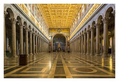 Rom: Geocaching über Silvester - Sankt Paul vor den Mauern: Innenansicht