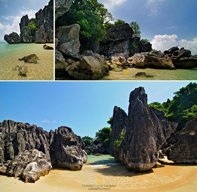 Rock formations on the east coast of Bagieng