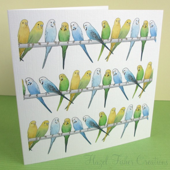 125mm square budgie pattern card 2