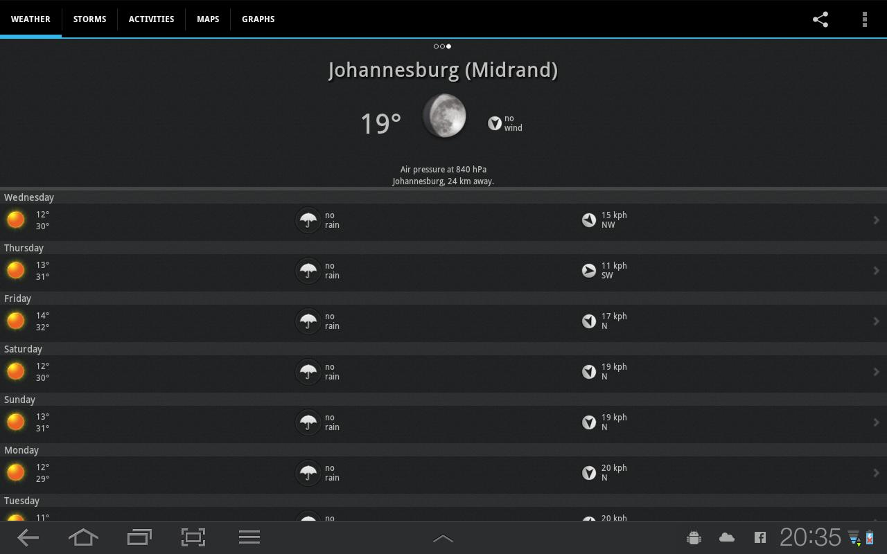 WeatherSA - screenshot