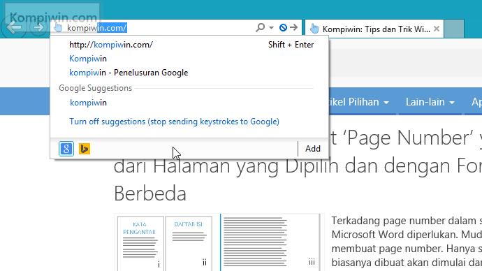 cara menambahkan google sebagai mesin telusur di internet explorer 001(1)